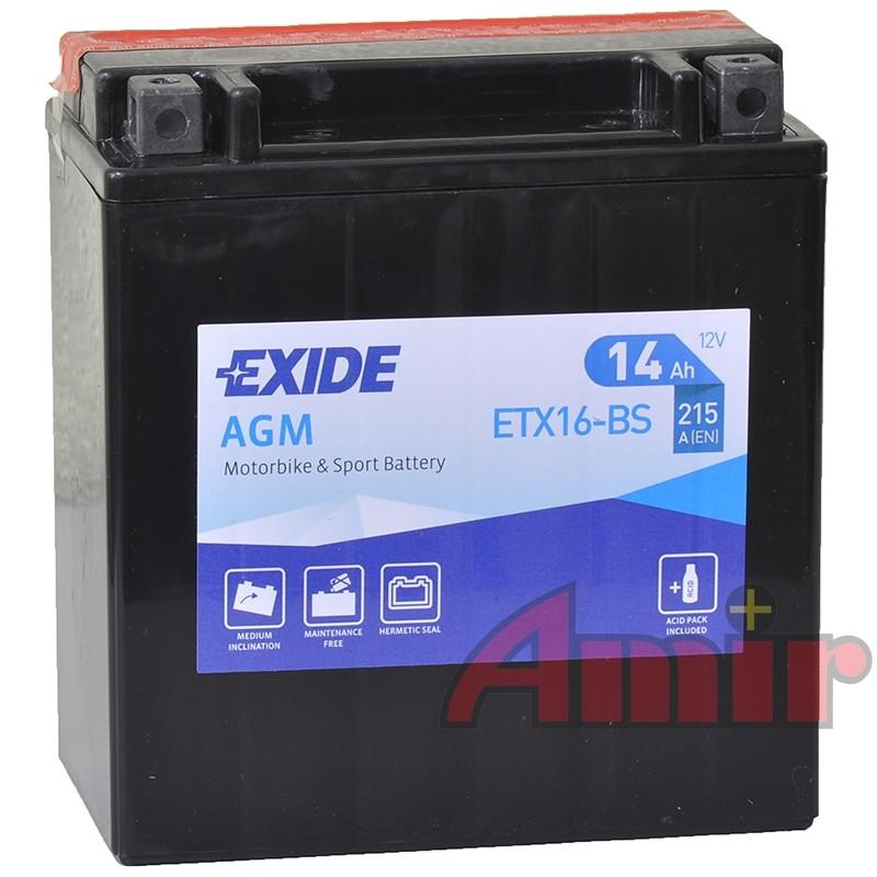 Akumulator Exide Bike ETX16-BS - 12V 14Ah 215A YTX16-BS