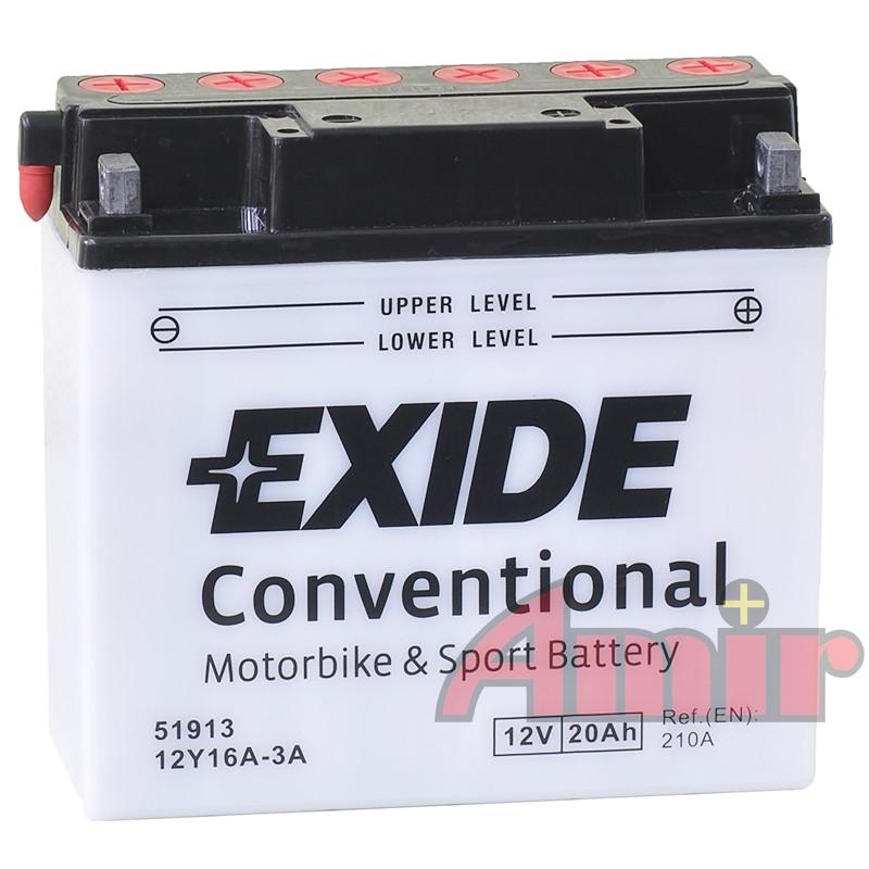 Akumulator Exide Bike 12Y16A-3A 51913 - 12V 20Ah 210A