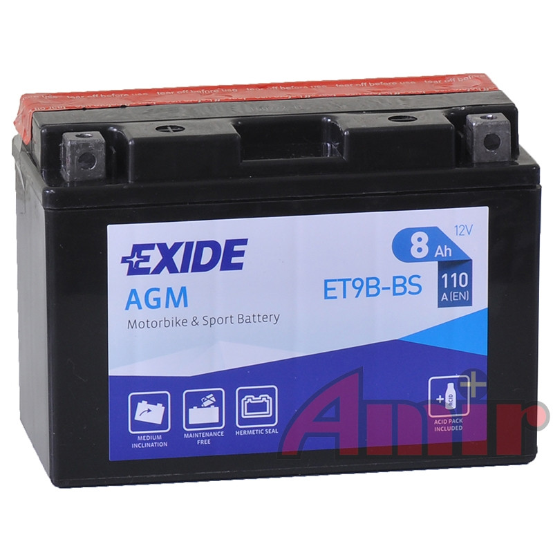 Akumulator Exide Bike ET9B-BS - 12V 8Ah 110A YT9B-BS