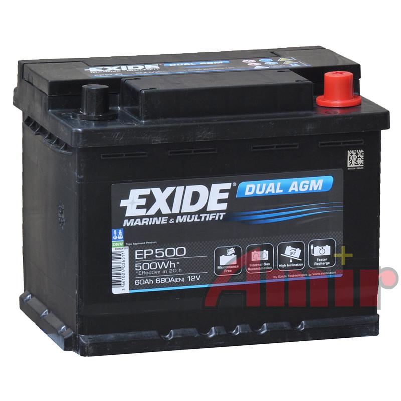 Akumulator Exide Dual AGM - 12V 60Ah 680Wh EP500 Marine & Multifit