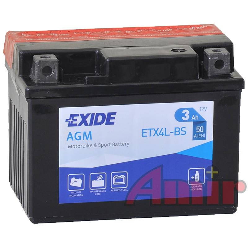 Akumulator Exide Bike ETX4L-BS - 12V 3Ah 50A YTX4L-BS